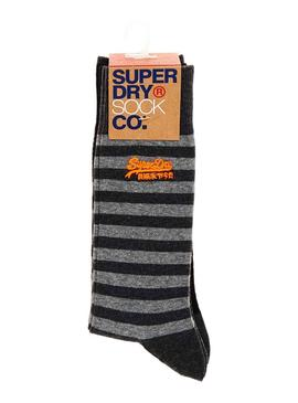 Pack Chaussettes Superdry City Stripe Grey Homme
