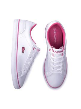 Chausson Lacoste Lerond Blanc Rose Fille