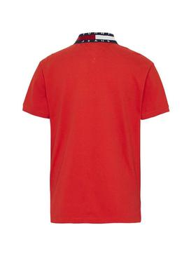 Polo Tommy Jeans Flag Neck Rouge Homme