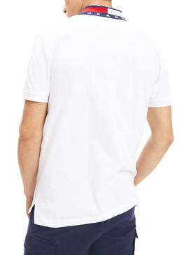 Polo Tommy Jeans Flag Neck Blanc Homme