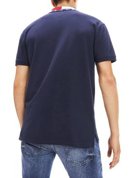 Polo Tommy Jeans Flag Neck Marine Homme
