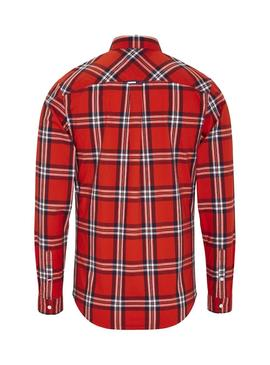 Chemise Tommy Jeans Essential Check Rouge Homme