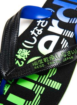 Tongs Superdry Scuba Faded Logo Noires