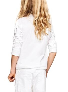 T-Shirt Jeans Pepe New Herman HR Blanc Fille