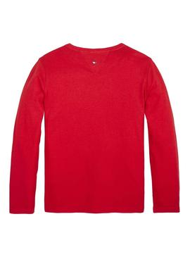 T-Shirt Logo Tommy Hilfiger Essential Rouge Fille
