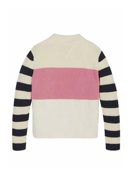 Pull Tommy Hilfiger Colorblock Stripes Fille