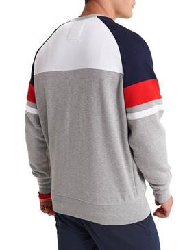 Sweat Superdry Racer Print Gris Homme