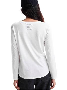 Top Superdry Graphic Blanc Femme