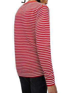 Pull Tommy Jeans Essential Stripe Rouge Homme