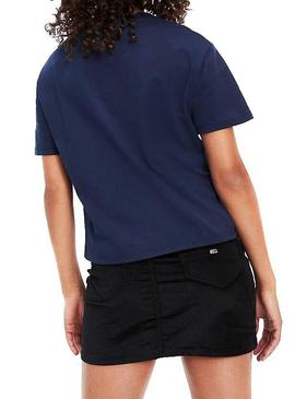 T-Shirt Tommy Jeans Linear Logo Navy Femme