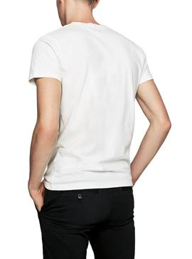 T-Shirt Pepe Jeans Bobby Blanc Pour Homme