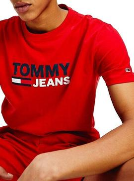 T-Shirt Tommy Jeans Corp Rouge Homme