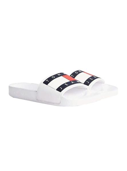 Tongs Tommy Jeans Flag Blanc pour Homme