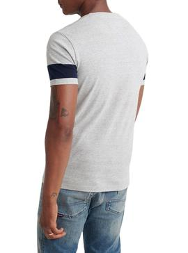 T-Shirt Superdry Chestband Gris pour Homme