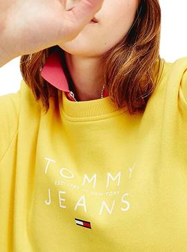 Sweat Tommy Jeans Fruit Jaune pour Femme