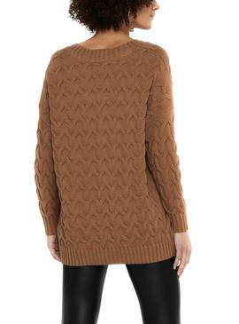 Pull Only Bina Marron pour Femme