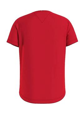 T-Shirt Tommy Hilfiger Essential Rouge pour Fille