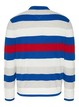 Pull Tommy Jeans Small Text Stripe Bleu Homme