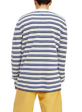 Pull Tommy Jeans à rayures Multistripe Blanc pour Homme